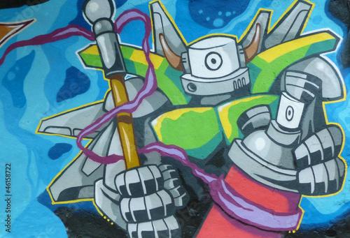 Fototapeten,graffiti,roboter,gischt,warrior