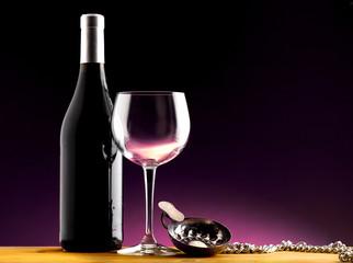 bottiglia bicchiere e tastevin