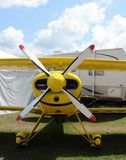 Yellow airplane front view