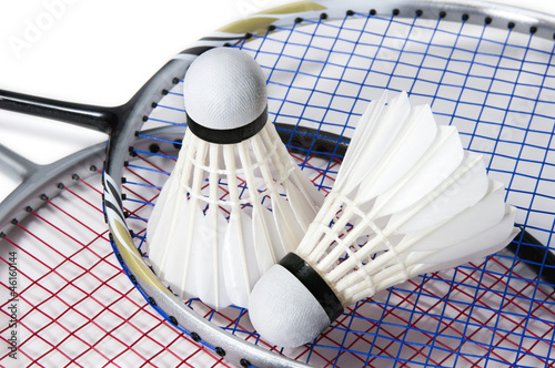 baddminton shuttlecock on racket background