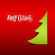 Christmas green tree paper design on red background
