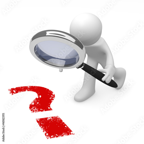 3d man with a magnifying glass and a red question mark