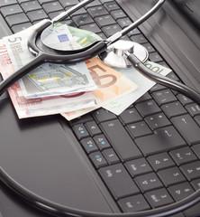 Stethoscope lying on the keyboard