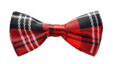 Red black plaid bow tie