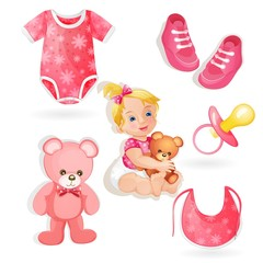 Set of elements for a baby girls