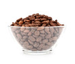 Glass bowl with roasted coffee beans