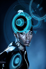 Attractive african woman with shiny hologram on head
