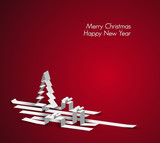 Merry Christmas card made from paper stripes