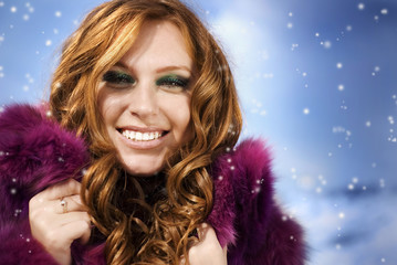 red-haired girl in a fur coat