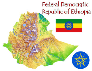 Ethiopia Africa national emblem map symbol motto