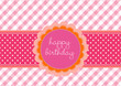 Birthday card with flower label on a pink vichy pattern