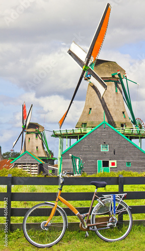 Bicycle and windmills in The Netherlands