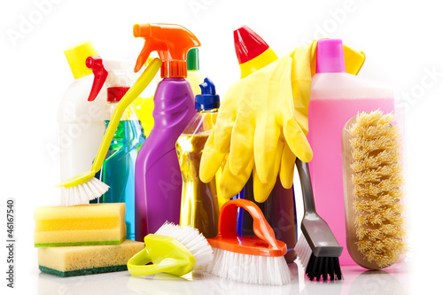 Fast and clean! Cleaning items on white