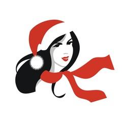 Vector portrait of beautiful woman wearing Santa's hat