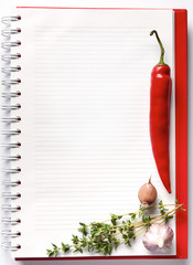 Blank notebook with fresh vegetables
