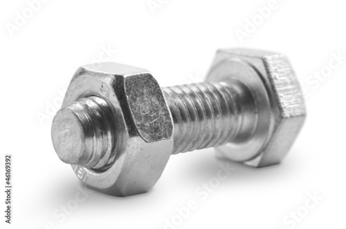 Bolt and nut on a white background