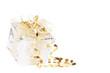 canvas print picture - schönes silbernes weihnachtsgeschenk mit goldenen schleifen