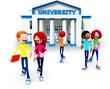3D university students
