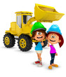 3D young construction workers