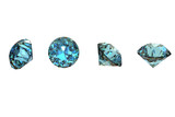 Collections of round shape jewelry gems. Swiss blue topaz poster
