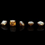 square. Citrine. Collections of jewelry gems on black background poster