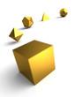 Platonische Körper in 3D - Edel Gold