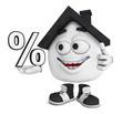 Kleines 3D Haus Schwarz - Prozent Symbol