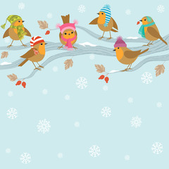 Winter background with funny birds.