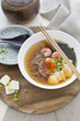Asian soba noddle soup
