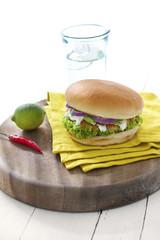 Salmon or chicken burger