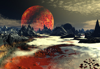3D Rendered Fantasy Landscape On An Alien Planet
