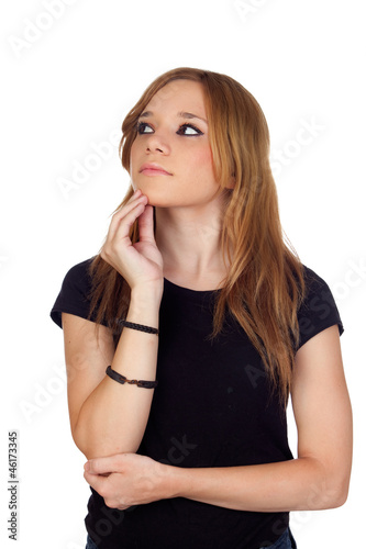 Pensive blond woman with black shirt
