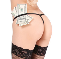 sexy butt and money isolated on white background