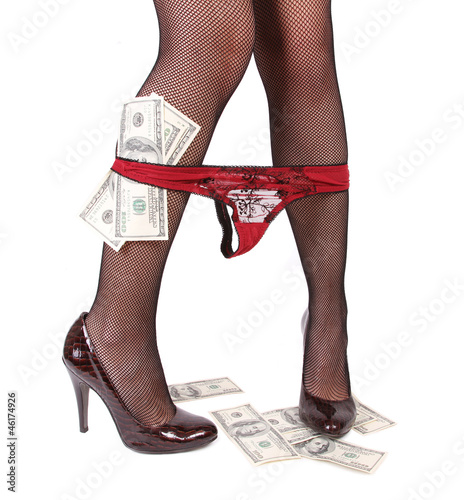 sexy legs with panties down and money isolated on white