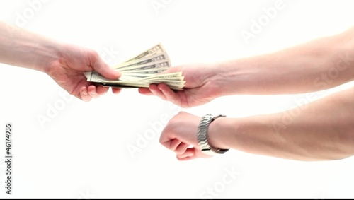 Hand giving debt back on due time