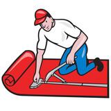 Carpet Layer Fitter Worker Cartoon poster