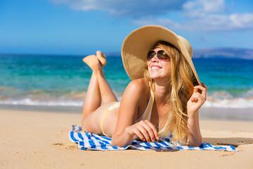 Beautiful Woman Relaxing on Tropical Beach
