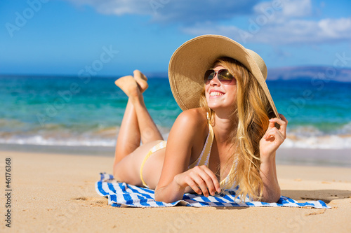 Beautiful Woman Relaxing on Tropical Beach
