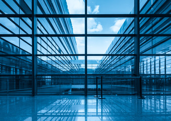 blue glass curtain wall and window