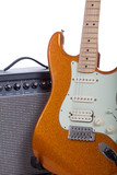 Orange electric guitar and amplifier