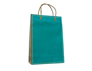 colourful paper bag with handles on a white background