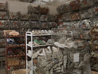 indoor shoe storage in a factory