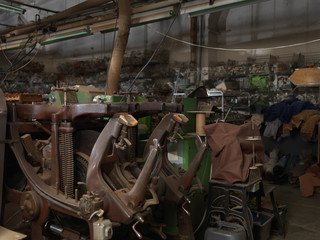 different machines inside a shoe factory