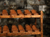 detail of shoe storage in a factory