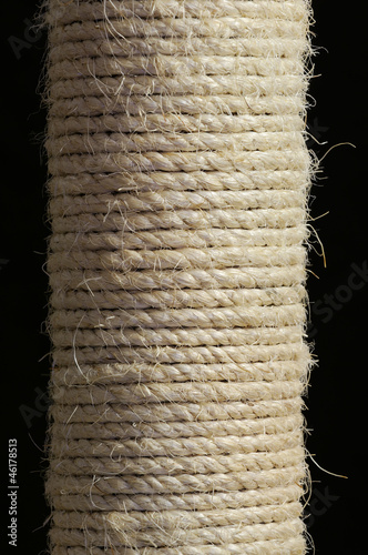 Sisal Rope Scratching Post on Black Background