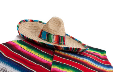 Serape and sombrero on a white background