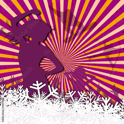 Obraz w ramie Vector Winter Party in violet