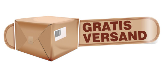 gratis versand paket banderole button
