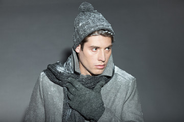 Man winter fashion. Handsome man isolated.