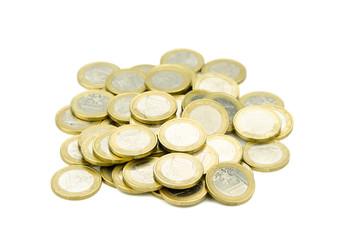 haufen ein euro münzen